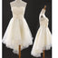 Vintage Junior Ivory Hi Low Strapless Sweetheart Lovely Bow Knot Homecoming Prom Dresses, BD00187