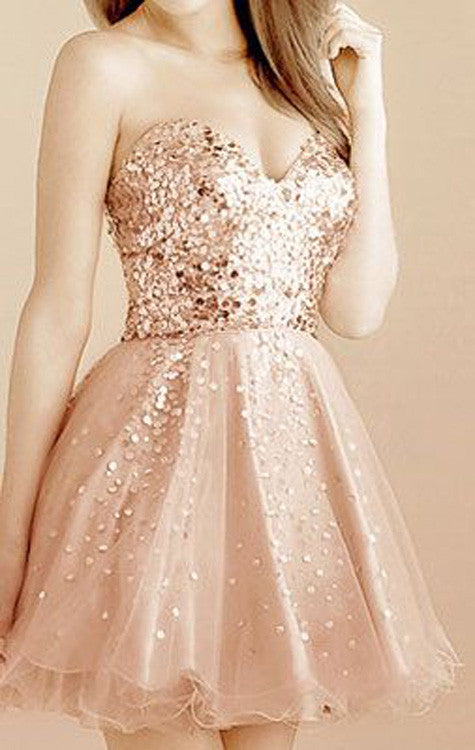 Gold Sequin Sweetheart Sparkly Strapless Lace Up Back Knee Length  Homecoming Prom Gowns Dress,BD00188