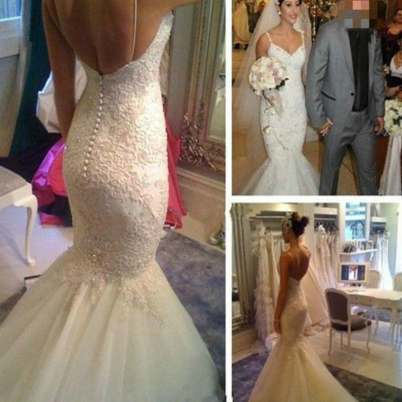 Popular Elegant V-Neck Deep V-back Long Mermaid White Lace Sweep Trailing Wedding Party Dresses , WD0045
