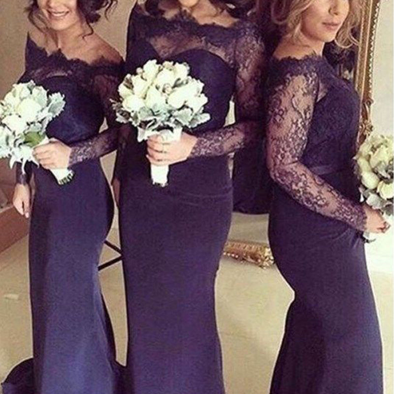 Sexy Navy Blue Long Sleeves Sabrina Mermaid Clairvoyant Outfit Lace Sweep Trailing Bridesmaids Dresses, WG22