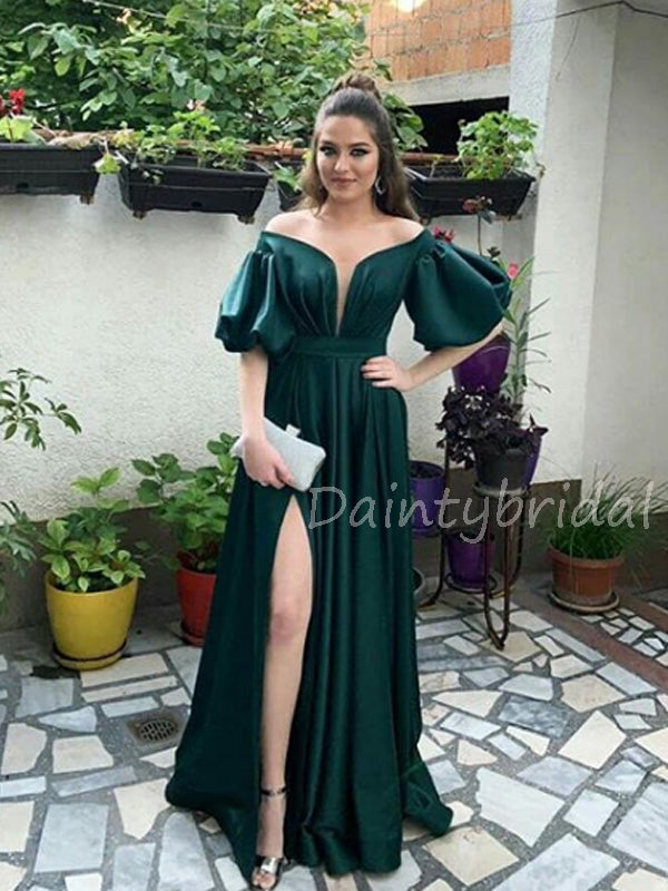 Charming One-shoulder Two-piece Satin Side Slit Long Prom Dresses Evening Dresses.DB10549