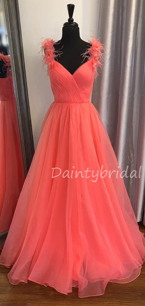 Charming V-neck Organza A-line Long Prom Dresses Evening Dresses.DB10605
