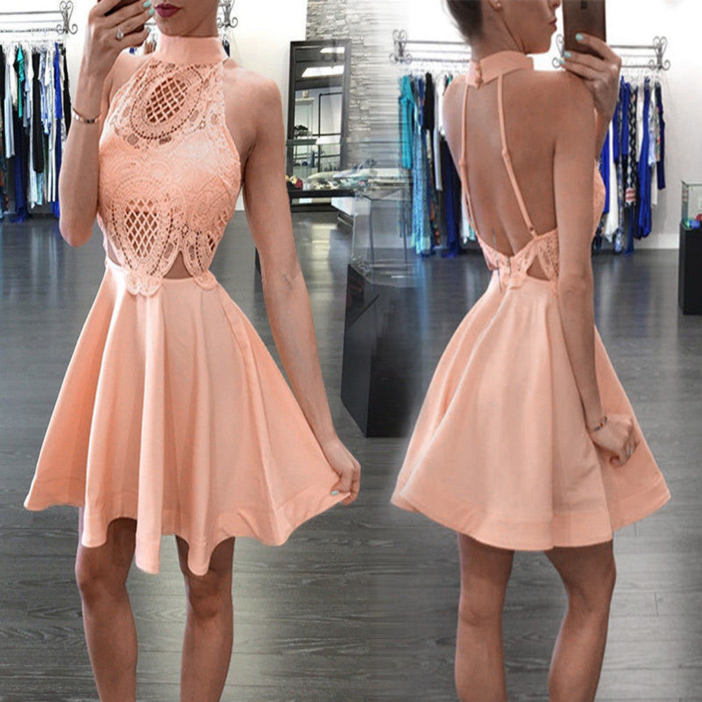 New Arrival Blush pink High neck open backs unique style homecoming prom dresses, BD001191