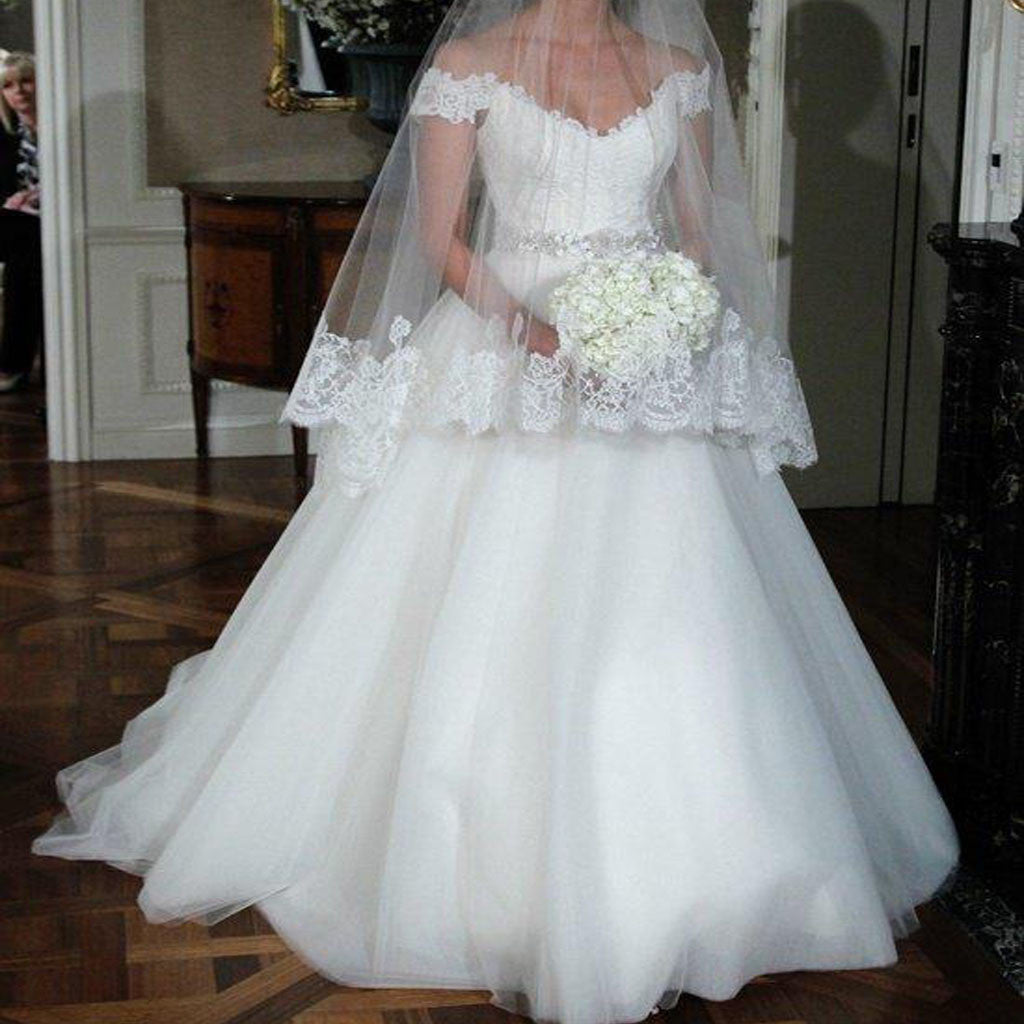 Popular Off Shoulder Ball Gown Lace Top White Tulle Beading Floor Length Wedding Dresses, WD0191