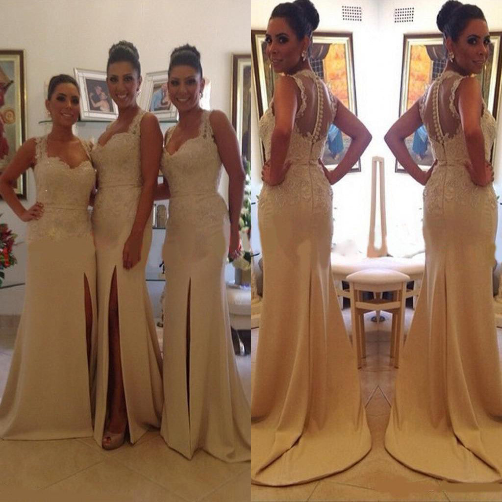 Sleeveless Column Sweetheart Side Split Lace  Mermaid Yarn Button Back Sweep Trailing Bridesmaid Dresses, WG193