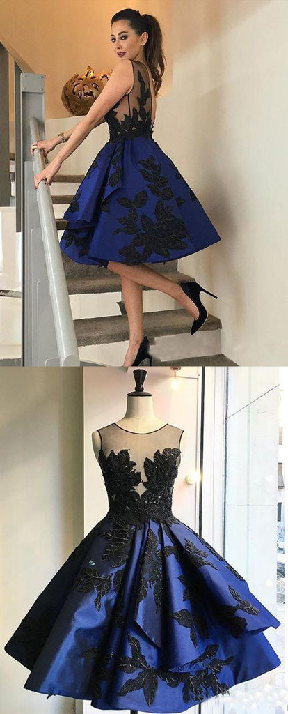Royal Blue Appliques Vintage Clairvoyant Outfit Ball Gown Open backs Homecoming Prom Dresses,BD00193