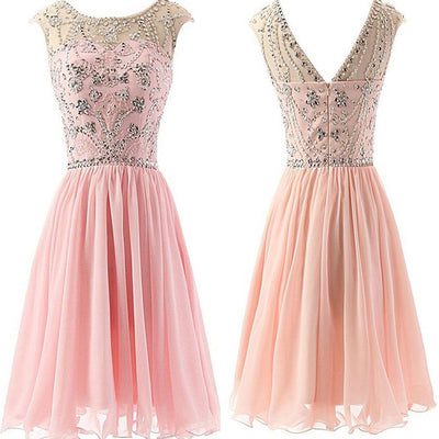 Pink Beaded Chiffon Elegant fashion cute graduation freshman casual evening party homecoming prom dresses, BD00194