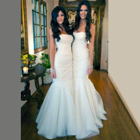 Gorgeous White Tulle Mermaid Strapless Floor Length Long Bridesmaid Dresses Cheap Simple  Wedding Dresses, WG195