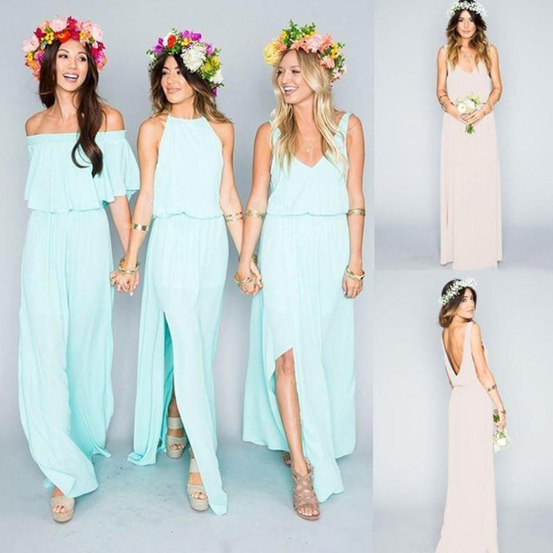 Cheap Summer Beach Pretty Young Junior Mint Mismatched Split Side Chiffon Floor Length Bridesmaid Dresses, WG197