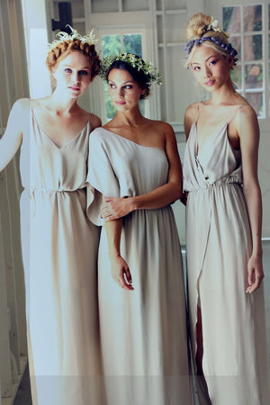 Simple Elegant Country Summer Mismatched Different Styles Column Cheap Long Bridesmaid Dresses, WG198