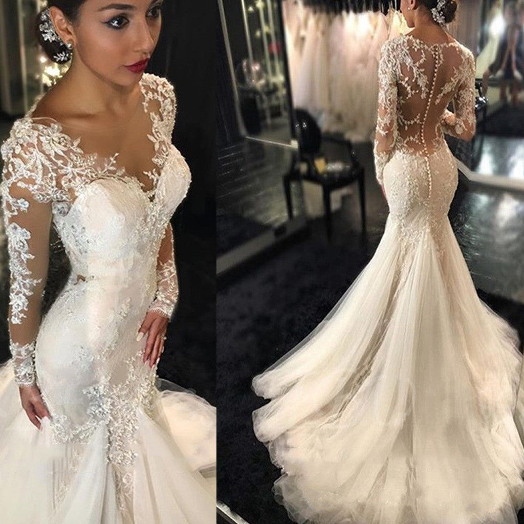Luxury Clairvoyant Outfit Long Illusion Sleeve Sexy Yarn Back Mermaid Lace Tulle Wedding Dresses, WD0198