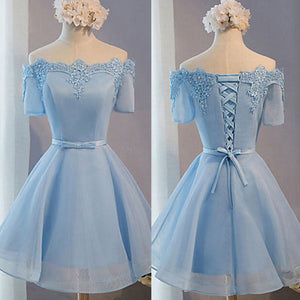 Light Blue Off Shoulder Half Sleeve Lace Appliques Lace Up Back Lovely Homecoming Prom Dresses, BD00198