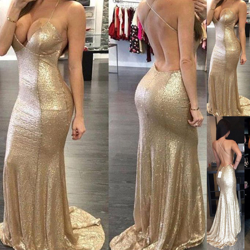 Sexy Backless Spaghetti Strap Halter Deep V-neck Mermaid Full Sequin Prom Dress Evening Gown Bridesmaid Dress , WG23