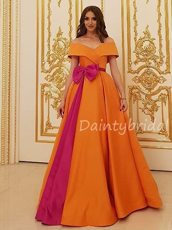 Charming Off-shoulder A-line Long Prom Dresses Evening Dresses.DB10579