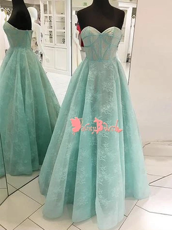 Fashion Tiffany Blue Lace Sweetheart Strapless Ball Gown Elegant Long  Prom Gown Dresses. DB1057