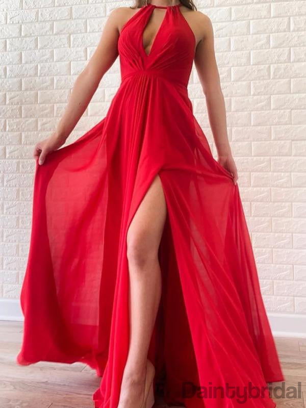 Newest Halter Chiffon Open Back Floor Length Long Prom Dresses. DB10272