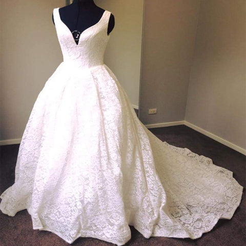 Elegant Strapless V-neck Full Floral Prints Lace Long Train Ball Gown Dainty Bridal Wedding Dress. DB0150