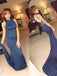Long Custom High Neck Unique Back Navy Blue Mermaid Sexy  Evening Party Prom Dresses,PD0192
