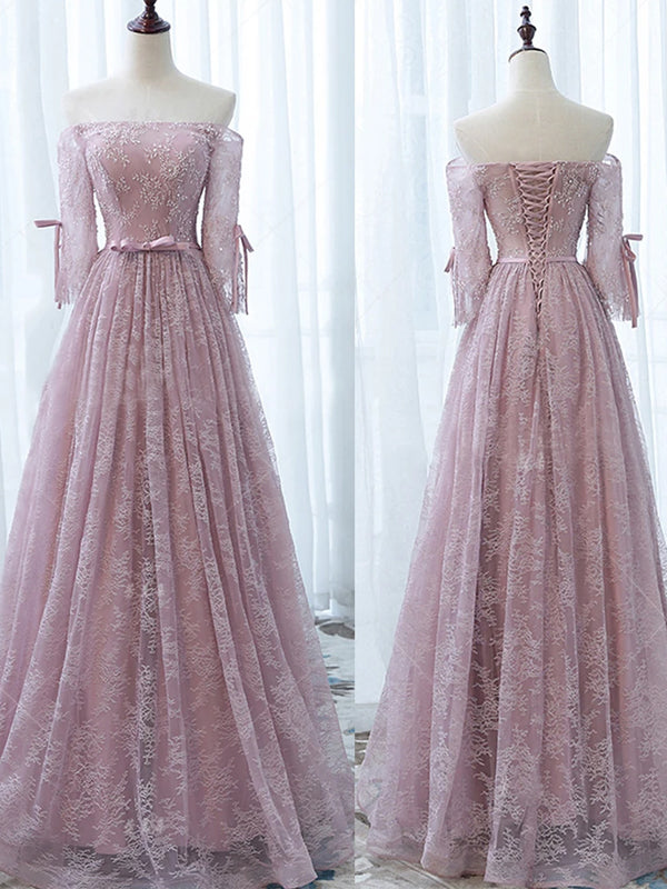Elegant Off Shoulder Pink Lace Beading A-line Lace Up Back Half Sleeve Prom Dresses,WD0190