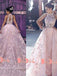 Blush Pink Lace Appliques High Neck Sleeveless Gorgeous Princess Ball Gown Prom Dresses. DB1051