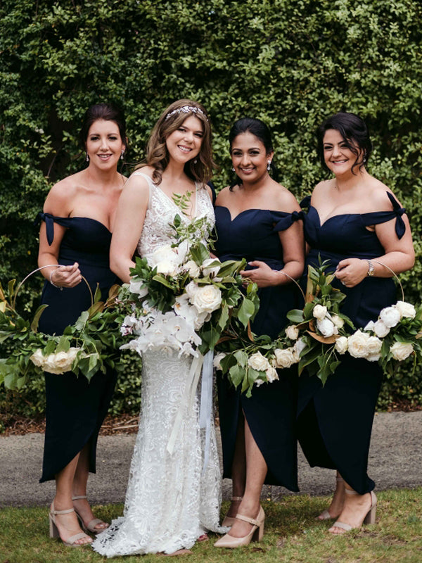 Sexy Off-shoulder Sweetheart High-low Side Slit Satin Bridesmaid Dresses.DB10646