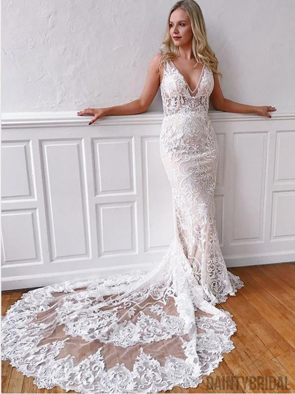 Sexy V-neck Lace Mermaid Wedding Dresses With Long Train.DB10211