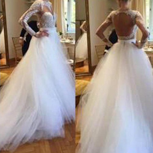 Elegant A-line Long Sleeve Lace Sweetheart Jewel Open Back Chapel Trailing Wedding Party Dresses, WD0065