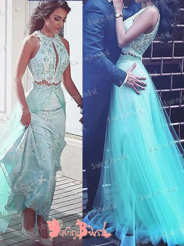 Two Pieces  Tiffany Blue Lace A-line Sleeveless Unique Neck Elegant Long Prom Dresses. DB1046