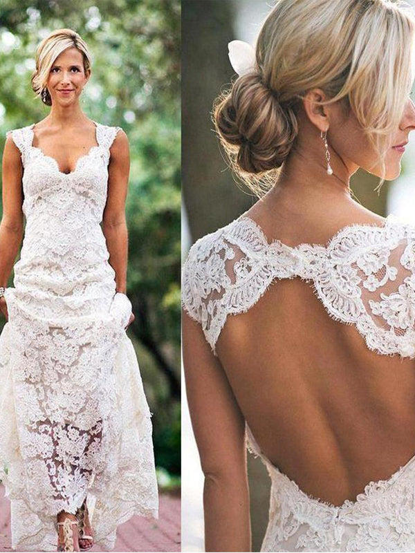 Elegant Sexy Clairvoyant Outfit A-line Full Lace Open Back Sleeveless Wedding Dress. WD0201