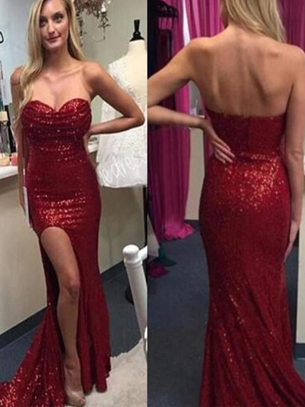 Popular Sweetheart Strapless Mermaid Sequined Sparkly Sexy With High Split Slit Long Prom Dresses. DB080