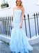 Charming Straight Tulle Mermaid Long Prom Dresses Evening Dresses.DB10371