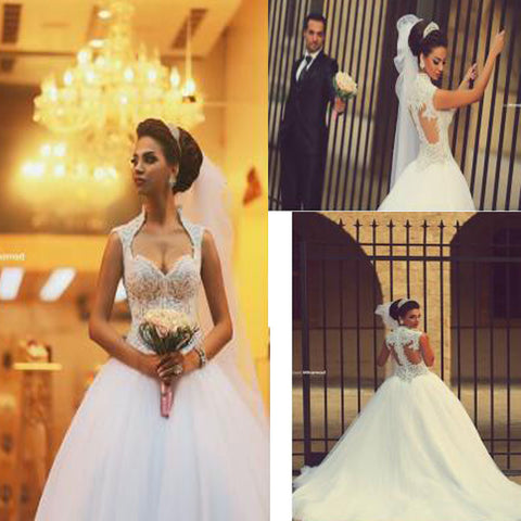 Vintage Unique Style Stand Collar Sleeveless Sweetheart Clairvoyant Outfit Lace Back Ball Gown Wedding Dresses. DB0080