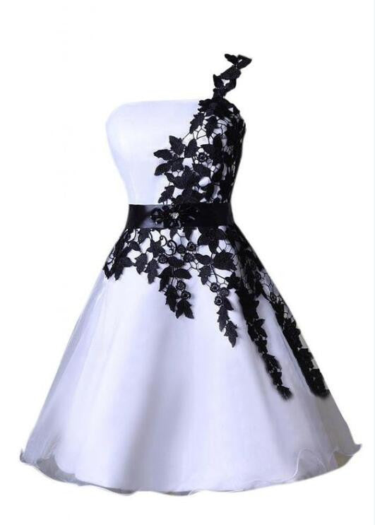 Short A-line One Shoulder Strapless Black Lace Appliques Cute Homecoming Prom Dresses, CM0007
