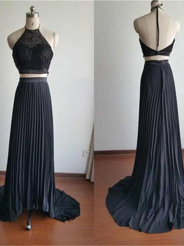 Two Pieces Halter High Neck Beading Top Newest Simple Chiffon Evening  Party Prom Dress,PD0061