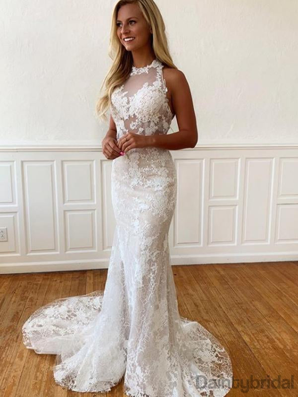 Mermaid Lace Open Back Sleeveless Wedding Party Dresses.DB10226