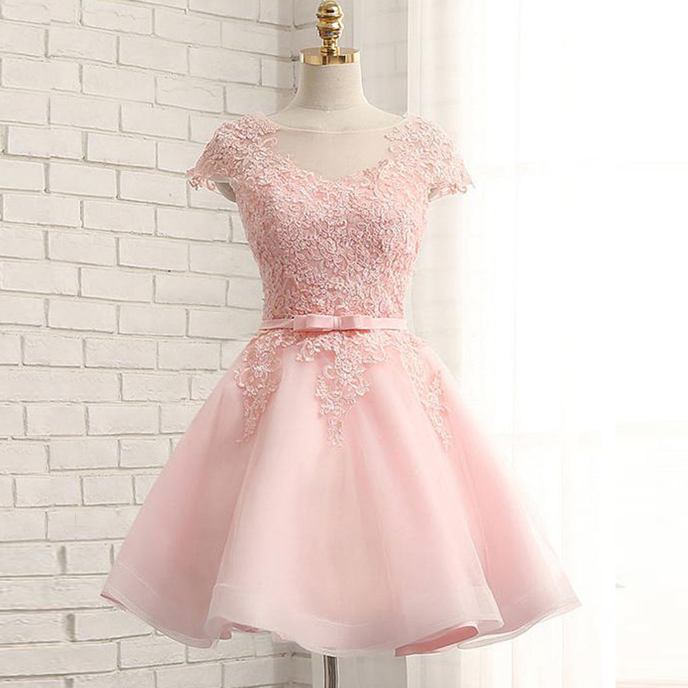 c6cc88928f8 Newest Pink Lace Cap Sleeve A-line Yarn Back With Bow Sash Pretty ...