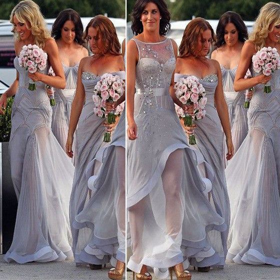 Mismatched Clairvoyant Outfit Grey Beading Floor-Length Organza Wedding Party Long Bridesmaid Dress. BD211
