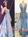 Fashion Blue Lace With Beading Sleeveless Split Neck Illusion Back A-line Long Prom Dresses. DB1048