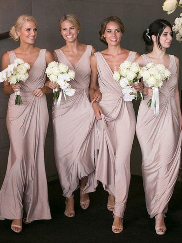 Best V-neck V-back Jersey Evening Dresses Party Long Bridesmaid Dresses.DB10664