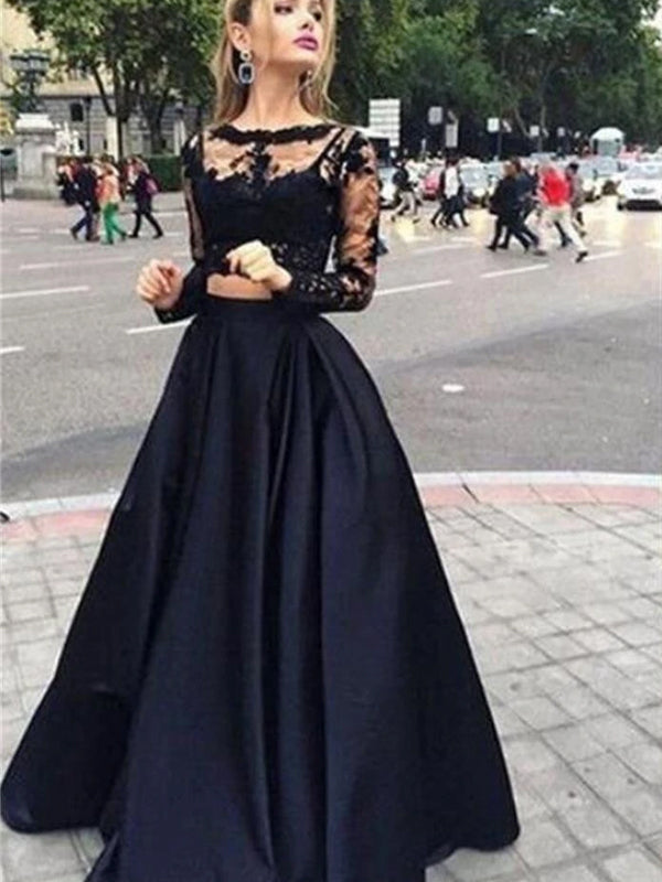 Long Sleeve Two Pieces Black With Clairvoyant Outfit Lace Ball Gown Evening Party Prom Dress,PD0045