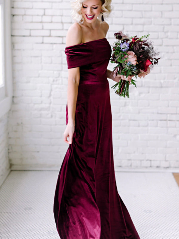 Vintage Straight Simple Mermaid Velvet Long Evening Dresses Bridesmaid Dresses.DB10716
