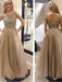 Newest Cap Sleeve A-line Sequins Open Back Long Prom Dresses,PD0135