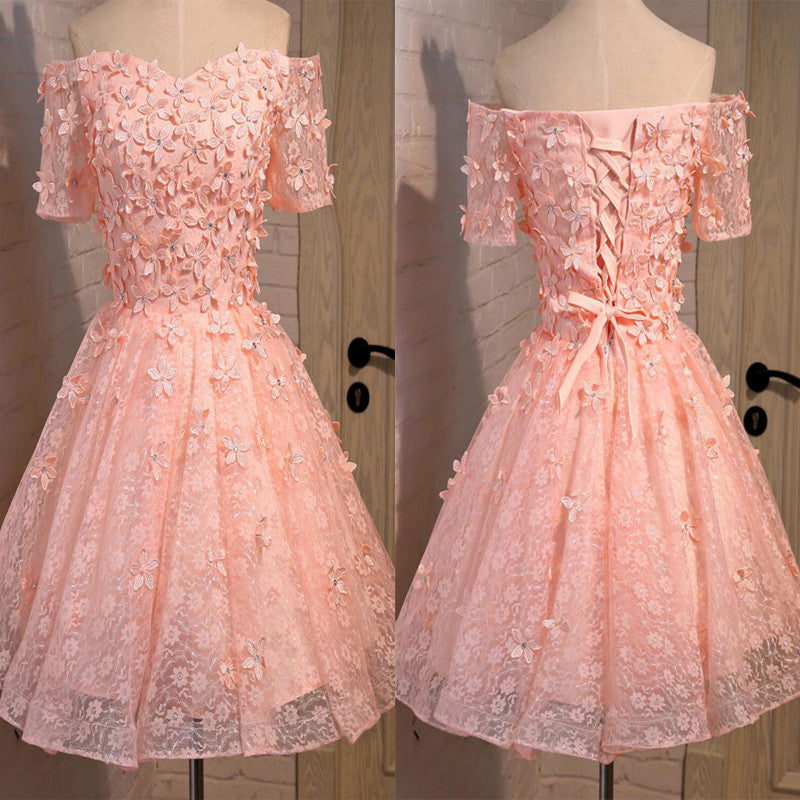 Short A-line Junior Cute Off Shoulder Full Lace Appliques Beads Sweetheart Lace Up Back Homecoming Dress,BD0125