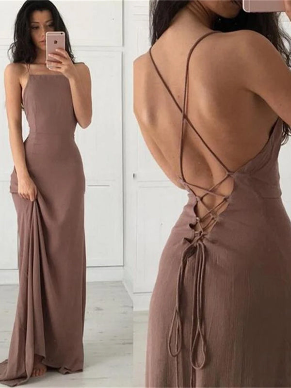 New Arrival Elegant Spaghetti Straps Fashion Best Sale Charming Lace Up Back Prom Dresses,PD0154