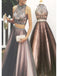 Gorgeous Two Pieces Open Back Vintage Ball Gown Long Prom Dresses. DB081