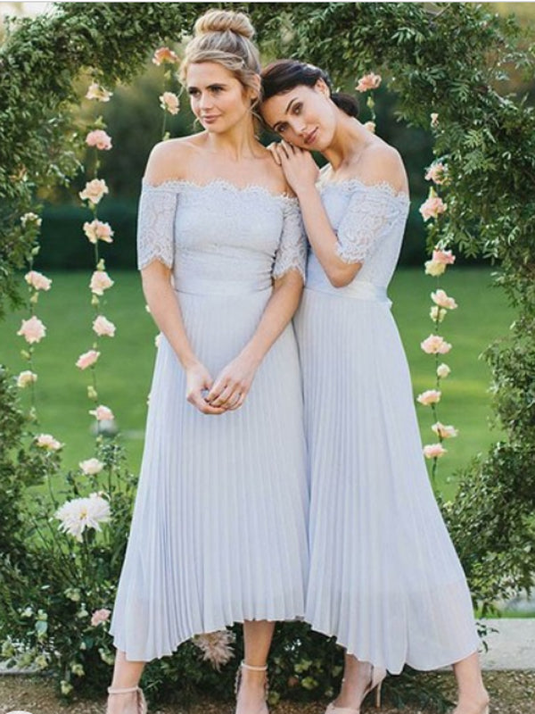 Off-shoulder Chiffon With Lace Ankel Length A-line Bridesmaid Dresses.DB10240