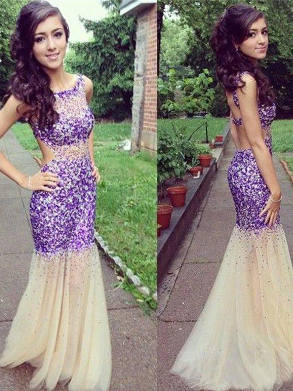 Sparkly Purple Mermaid Scoop Neck Sleeveless Evening Prom Dresses,PD0101
