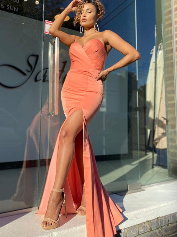 Popular Mermaid Sweetheart Side Slit Evening Party Prom Dresses,PD0129