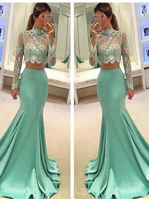 Mermaid Two Pieces Long Sleeve Green Satin Lace Long Prom Dresses, PD0201