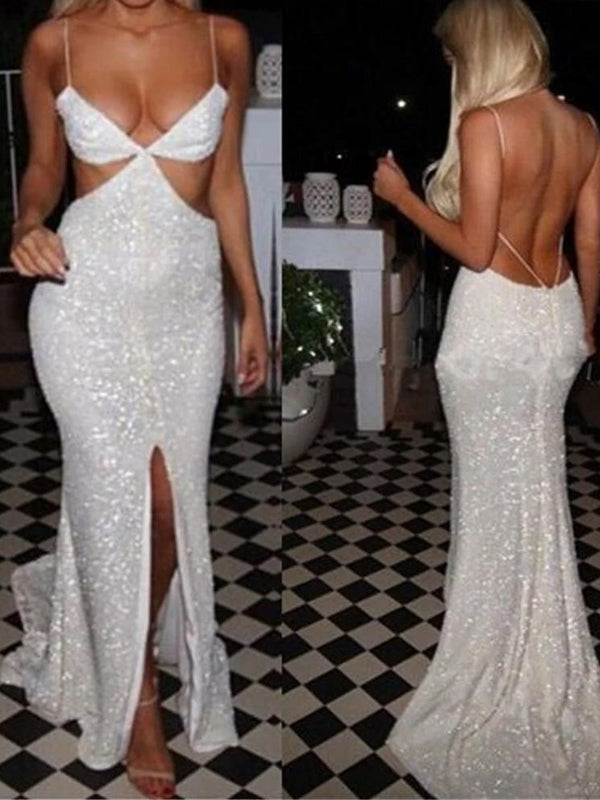 Unique Popular Sexy Spaghetti Straps Backless Sparkly Sequined Split Front Long Mermaid Prom Dress,PD0145